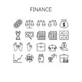 Vector illustration of thin line icons for Finance. Vector illustration of thin line icons for Finance Linear symbols set 64*64 pixels Stock Images
