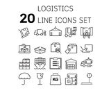 Vector illustration of thin line icons for Logistic. Royalty Free Stock Photos