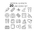 Vector illustration of thin line icons for medical and . Royalty Free Stock Photography