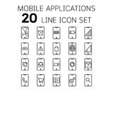 Vector illustration of thin line icons for Mobile Applications. Vector illustration of thin line icons for Mobile Applications Linear symbols set 64*64 pixel Royalty Free Illustration