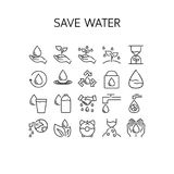 Vector illustration of thin line icons for Save Water. Royalty Free Stock Photo