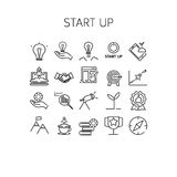 Vector illustration of thin line icons for Start up. Vector illustration of thin line icons for Start up Linear symbols set 64*64 pixels Stock Illustration