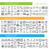 Vector illustration of thin line icons for technology household transport. Vector illustration of thin line icons for technology household and transport - Linear Stock Photography
