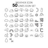 Vector illustration of thin line icons for weather. Royalty Free Stock Image