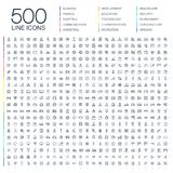 Vector illustration of 500 thin line web icons. Vector illustration of 500 thin line business icons. Finance, shopping, communication technology, market, app Stock Photo