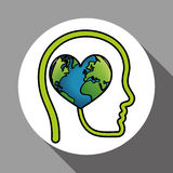Vector illustration of Think green , editable icon Royalty Free Stock Photos