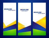 Three abstract template design of vertical banner with Brazilian colors. Vector illustration: Three abstract template design of vertical banner with Brazilian Stock Image