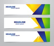 Three abstract template design of web banner with Brazilian colors. Vector illustration: Three abstract template design of web banner with Brazilian colors Royalty Free Stock Photo