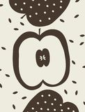 Vector illustration with three apples. Stock Image