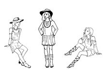 Vector illustration of three beautiful fashion girl Stock Photo