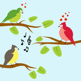 Vector illustration of three birds on branches Royalty Free Stock Image