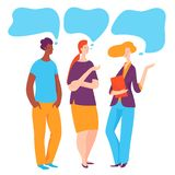 Vector illustration with three business people taking conversation. Vector illustration with colored business people taking conversation royalty free illustration