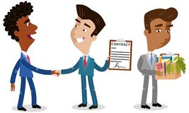 Vector illustration of three cartoon businessmen, two shaking hands offering contract, one being fired. Vector illustration of three cartoon businessmen, two Stock Photography