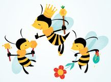 Vector Funny bees Cartoons Illustrations Royalty Free Stock Photo