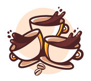 Vector illustration of three cups of coffee. With splashes on white background. Hand drawn line art design for web, site, advertising, banner, poster, board and Royalty Free Stock Photos
