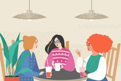 Vector illustration with three cute girls siting in a cafe royalty free illustration