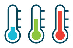 Vector illustration of three different thermometer Stock Image