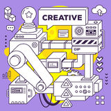 Vector illustration of three dimensional black and white mechani. Sm to develop creative ideas on purple with yellow background. 3d line art style design for royalty free illustration
