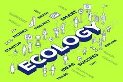 Vector illustration of three dimensional word ecology with peopl Stock Photo