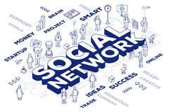 Vector illustration of three dimensional word social network wit Stock Photo