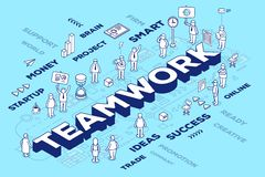 Vector illustration of three dimensional word teamwork with peop Stock Images