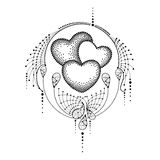Vector illustration with three dotted heart and ornate lace in black isolated on white background. Dotwork design elements. Royalty Free Stock Photo