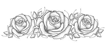 Vector illustration with three dotted rose flower and leaves in black  on white background. Floral elements with open rose. In dotwork style for elegance design Stock Images