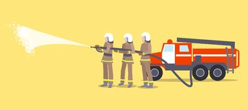 Firefighters in Helmets Trying to Extinguish Fire. Vector illustration of three firefighters wearing helmets and uniform trying to put out flame with help of Royalty Free Stock Images