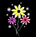 Vector illustration of three flowers Royalty Free Stock Photos