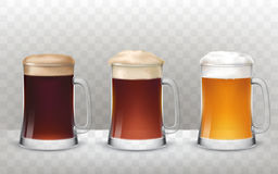 Vector illustration three glass beer mugs with a different beer  on a transparent background Royalty Free Stock Photography