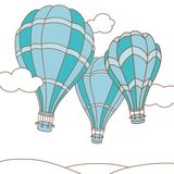 Vector illustration of three hot air balloons Royalty Free Stock Photo