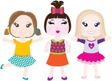 Vector illustration of three little smiling girls Royalty Free Stock Images