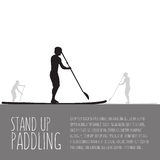 Vector illustration of three men with stand up paddle boards and Stock Images