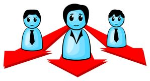 Three people heading for the same direction. Vector illustration of three people heading for the same direction Royalty Free Stock Image