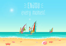 Vector illustration of three people windsurfing in the sea with enjoy every moment words. Vector illustration of three people windsurfing in the sea with enjoy Royalty Free Stock Image