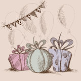 Vector illustration of three present boxes, flags and balloons Stock Photo