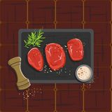 Vector Illustration of three raw rib eye steak with paper and rosemary on black hotplate in top view concept can used for banner, stock illustration