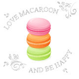 Vector illustration of three realistic  sweet macaroon - with hand drawn curly leaves and branches Royalty Free Stock Image