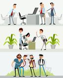 Three scenes with different characters. Vector illustration of three scenes with different characters Royalty Free Stock Photo