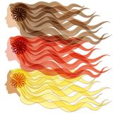 Vector illustration  Three silhouette of women's hair and face Brunette and Blonde Redhead Stock Photo