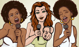 Vector illustration of a three singing  woman Stock Photography