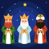 Vector illustration of the Three Wise Men. Vector illustration of the Three Wise Men caspar,  melchior and balthasar bring gifts to Jesus on Christmas Royalty Free Stock Images
