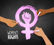 Womens hands drawing Feminism protest symbol. Vector illustration of three womens hands drawing Feminism protest symbol with chalk on blackboard background Royalty Free Stock Images