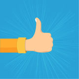 Vector Illustration Thumb Up Hand Sign. Like gesture. Hand showing thumbs up. Flat cartoon style colorful vector illustration Stock Photos