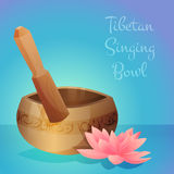 Vector illustration of tibetan singing bowl with Stock Photo
