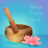 Vector illustration of tibetan singing bowl with Stock Photo