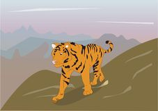 Vector illustration of a tiger that is on nature vector illustration