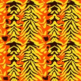 Vector illustration tiger print seamless pattern. Orange and yellow hand drawn background. Vector illustration tiger print seamless pattern. Orange and royalty free illustration