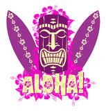 Vector illustration of tiki mask with surf boards Royalty Free Stock Photos