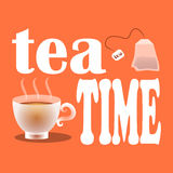 Vector illustration of the time drinking tea with tea bags, white cup and a slogan on an orange background. Illustration with text Royalty Free Stock Images